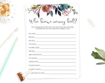 Who Knows Mommy Best Floral Baby Showers Game Printable Baby Party Games Watercolor Flower Design Burgundy and Pink Baby Shower Decor LF1