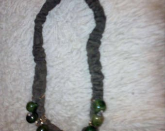 Handmade Jewelry, Bohemian Style Necklace, Leather and Stone