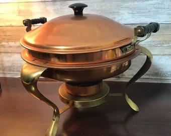 Copper Fondue Chafing Dish Warmer Server Pot Set Warming Soup Server on Stand