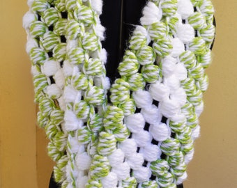 Green & White Cowl Scarf
