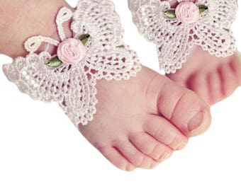 Lace Butterfly Barefoot Sandals And Headband, Newborn Photography Prop, Toddler Party Costume, Cute Photo Props, Girl's White Lace Sandals