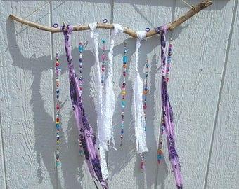 Natural drift wood branch boho style glass bead suncatcher