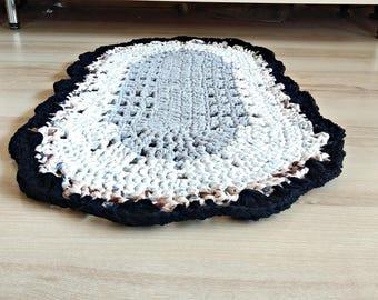 Crochet rug, Rag Rug, gray oval rug, white oval rug, home decor, rug for teen room, floor bedroom, children room, carpets, housewarming