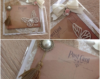 Beautifully presented handmade shabby chic/vintage card without sentiment can be used for any occasion