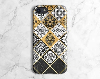 White, Black & Gold Marble Moroccan Mosaic Pattern Phone Case for iPhone 6 / 6S / 6 Plus, iPhone 7, iPhone 7 Plus, Samsung Galaxy S8 | DLC21