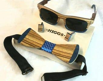 Wooden Sunglasses - Bowtie - Cufflinks set