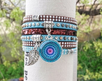"Leather Cuff Bracelet ""Wichita"" cabochon turquoise and Brown Mandala fancy handmade leather bracelet women"