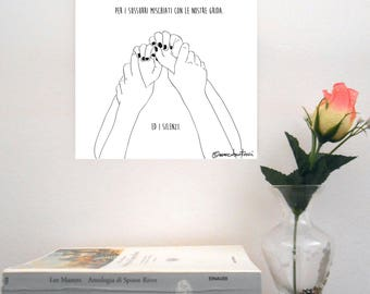 "Sketch print on rigid support-""Subsonica/Il Cielo su Torino"""