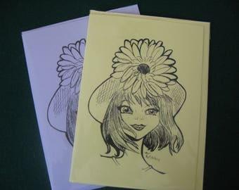 Sunflower Girl Original Artwork Cards