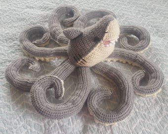 Handmade sharktopus crochet toy