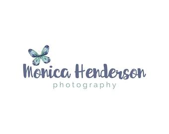 Custom Logo Design - Premade Logo - Photography Logo - Watermark - Small Business Logo - Shabby Chic Text - Hand Drawn Butterfly. VD010