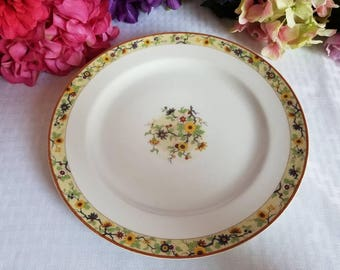"Antique Dinner Plate ""Chantilly by Haviland & CO made in Limoges, France, Shleiger #940, Floral, Brown Trim"