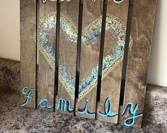 Wooden Family & Love sign