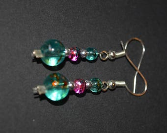 rainbow glass bead earrings