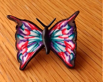 Butterfly Brooch, Handmade brooch, Polymer clay brooch.