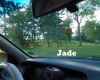 Jade mounted on custom made wood for your rear view mirror or interior window, promote peace, brings good luck, Jade infused w Reiki