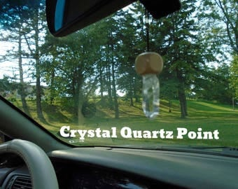Crystal Quartz Point mounted on custom made wood for your rear view mirror or interior window, Crystal quartz infused w Reiki