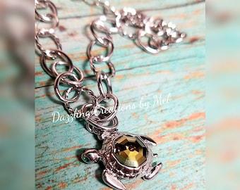 Swarovski turtle charm bracelet