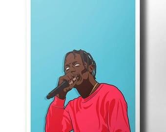 Travis scott poster / wall art / wall decor / rap poster / hip hop / rap artist / dope art / minimalist music poster / rapper / trap music