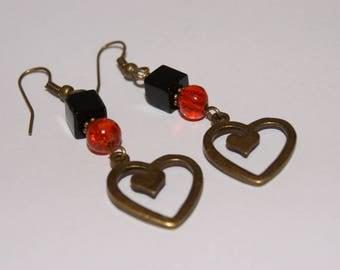 heart charm pierced earrings