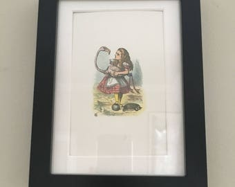 Classic Alice in Wonderland Illustration - framed Postcard - Alice with Flamingo