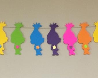 Trolls Garland/ Poppy Garland/ Trolls Party Decor/ Trolls Cake Table/ Rainbow Trolls Birthday