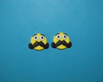 Polymer Clay Mustache Emoji Necklace, Ring or Pin