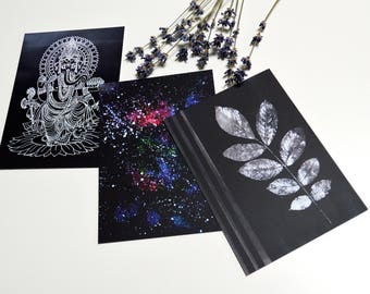 Graphic art cards Unique gift for friend Watercolor  print card Black cards set Space card Set of 3 cards White twig Ganesh art