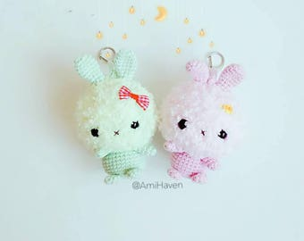 Fluffy Bunnies Bag Charm Handmade Crochet Doll Gift Plush Rabbit