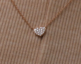 Diamond Heart Necklace 1/10 Ct 14K Rose Gold, 14K White Gold