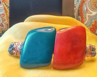 Red and Blue Tagua Wire Wrap