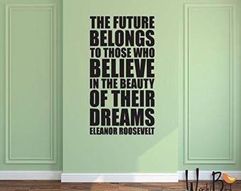Dream Believe Vinyl Wall Sticker Inspirational Motivational Quote Wall Decal XL