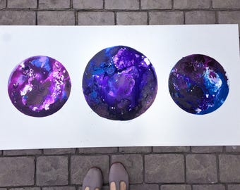 Celestial body trio, planetary series, outer space art, quality acrylic ink, fluid acrylic