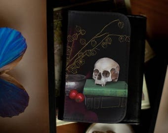 Still life vanitas wallet / faux leather