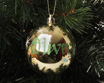 Gold Shatterproof Personalised Christmas Decoration