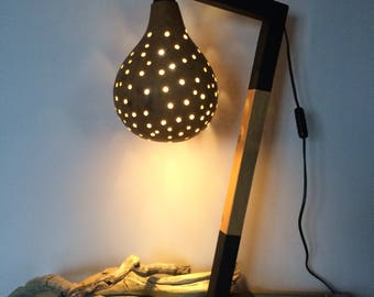 Original! Mood lamp with Lampshade coloquinte and wood