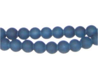 8mm Petrol Blue Sea/Beach-Style Glass Bead, approx. 53 beads