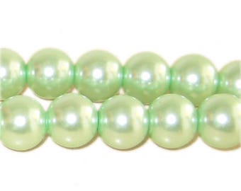"""12mm Round Pale Green Glass Pearl Bead, 8"""" string"""