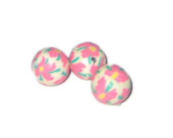 14mm Pale Pink Floral Polymer Clay Bead, 10 beads