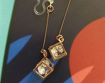 Starshine - Rose Gold Crystal Cube Invisible Clip Dangle Earrings (Complimentary Shipping)