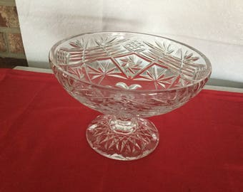 Beautiful  hand cut lead crystal pedestal bowl .