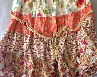 Orange Patchwork Patterned Skirt