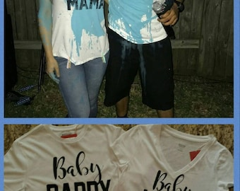 Baby mama/ Baby daddy gender reveal shirts