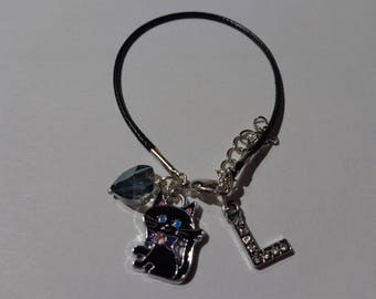 "Bracelet in black waxed cord initial letter ""L"""