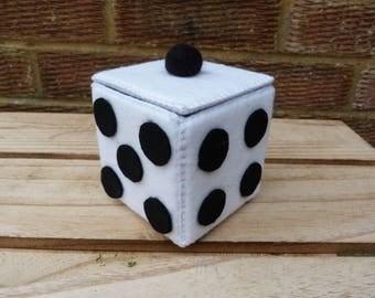 Hand sewn felt dice trinket/storage box