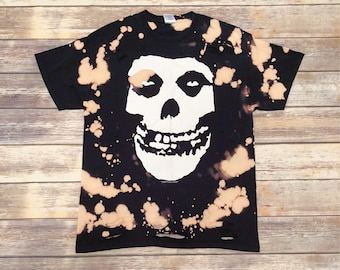 Misfits, LARGE, black concert tee shirt that has been bleached and distressed for a vintage/grunge look.