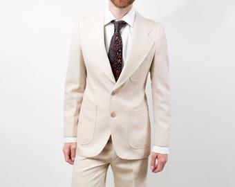 Vintage Men's Suit / 2-piece Wedding Groom Cream Color Wool Suit / Pants size 31-32, Jacket size 40.