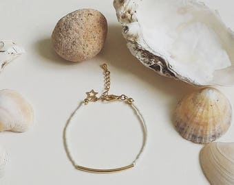 Bracelet beaded tackled women Lucine gold white gold