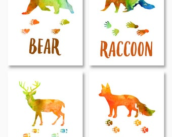 BEAR, FOX, DEER, Raccoon, Woodland Animals, Nursery Printables, Rustic Home Decor, Rustic Nursery Decor, Instant Download, Digital Printable