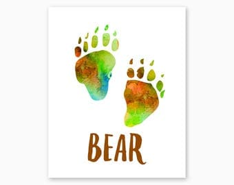 NATURE LOVERS GIFT, Cabin Decor, Cabin Wall Art, Printable Wall Art, Digital Printable, Bear Paw Prints, Bear Tracks, Woodlands Nursery